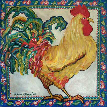 Blue Border Rooster by Suzanne Etienne