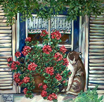 """Cat in Window"" by Suzanne Etienne"