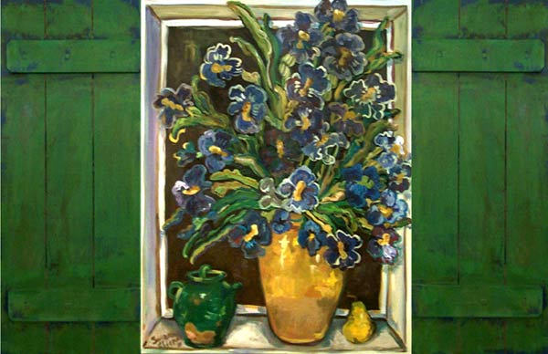 Irises in Yellow Vase by Suzanne Etienne