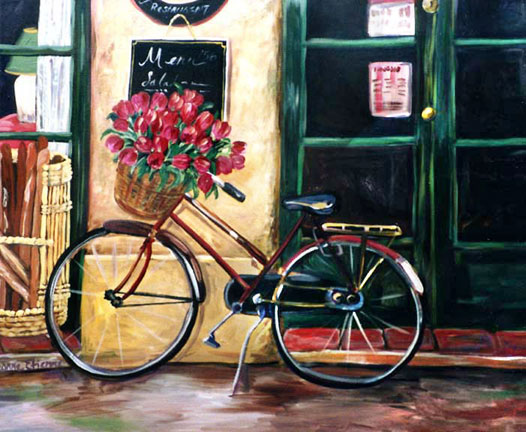 """Red Bike with Tulips"""