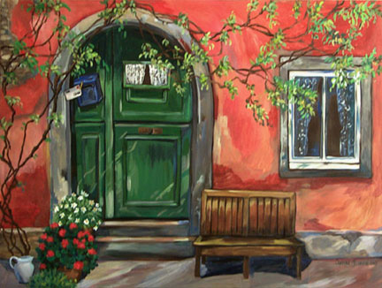 """Wisteria on a Red Wall"" by Suzanne Etienne"