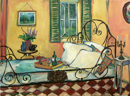 """Wrought Iron Bed"" by Suzanne Etienne"