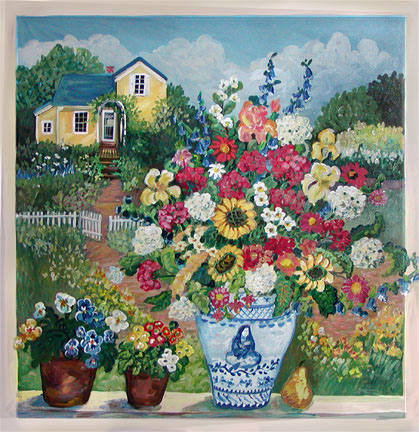 """Yellow Cottage with Blue Vase"" by Suzanne Etienne"