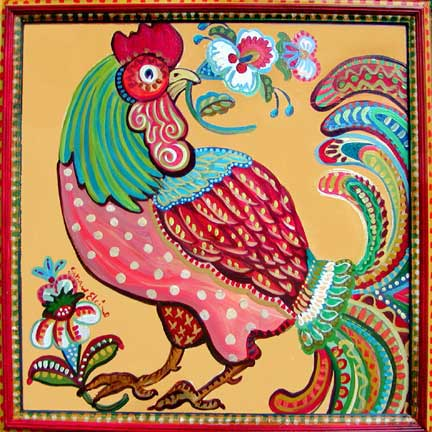 Folk Rooster by Suzanne Etienne